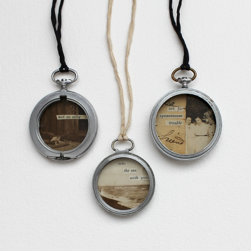 mixed media collage watch case pendant necklaces by Kaija Rantakari, 2017 / www.paperiaarre.com