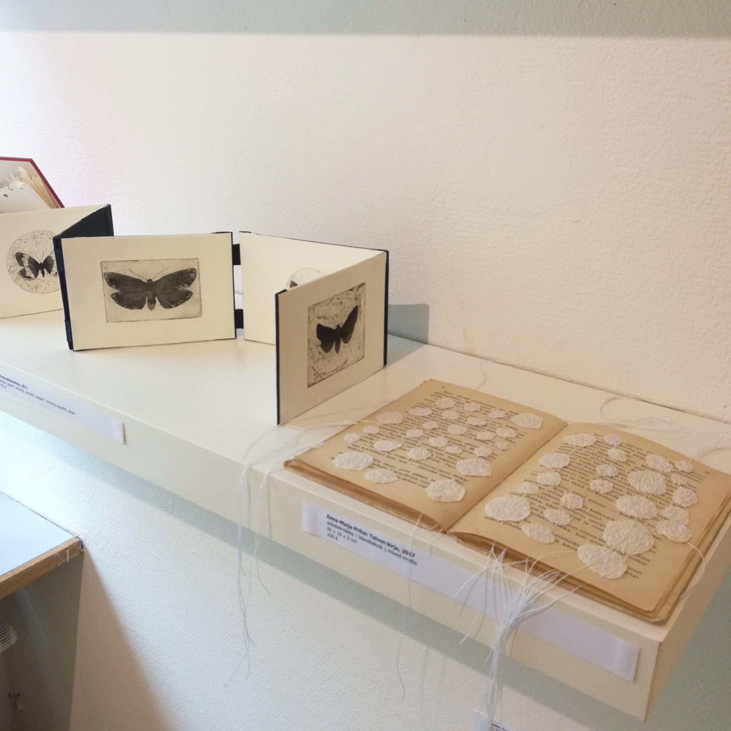 Perhoskokoelma, 2017, by Katja Taskinen etching, aquatint, papet - 10x13,5/71cm  Talven kirja, 2017, by Eeva-Maija Priha 26x18x2cm