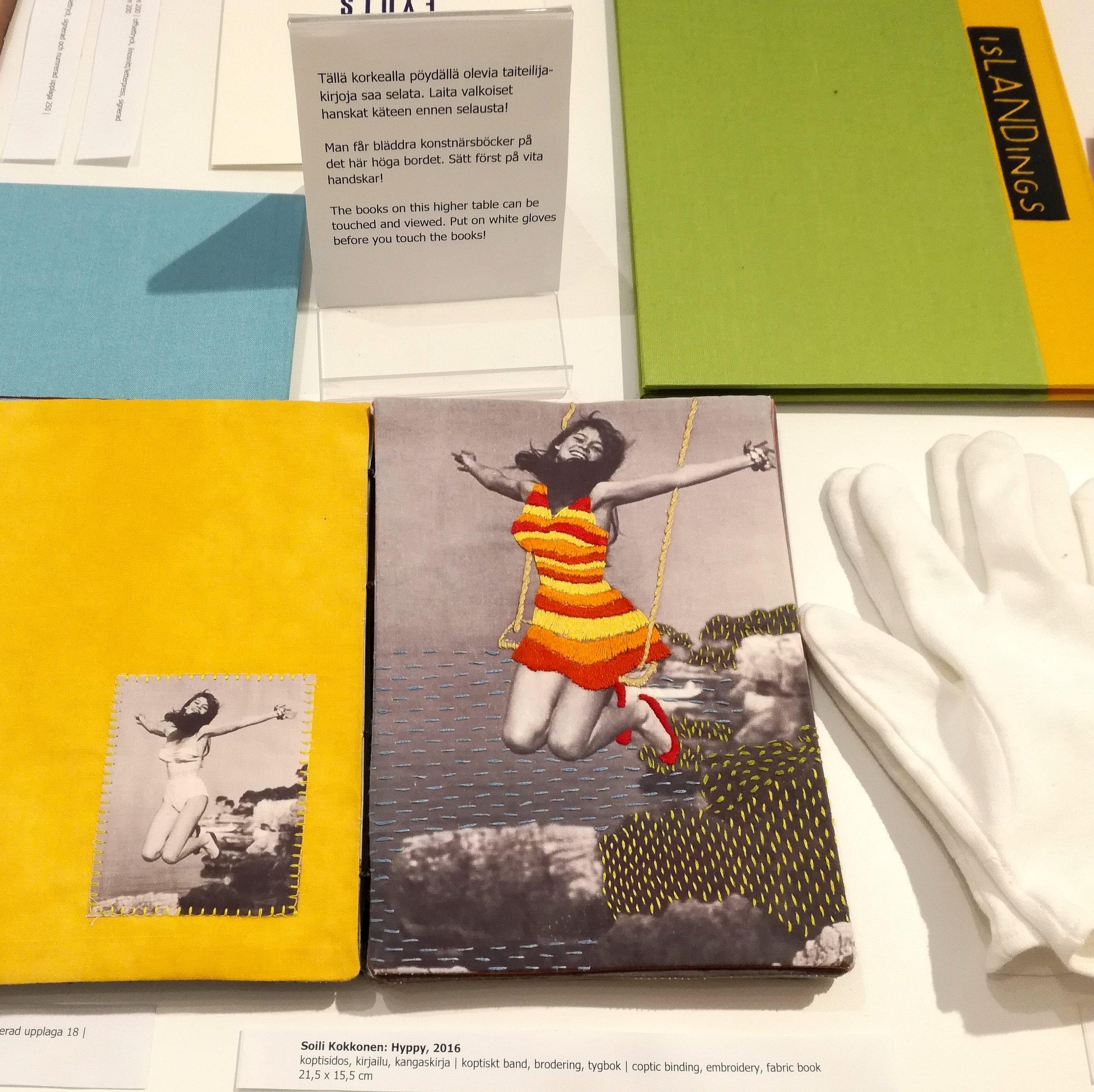 Hyppy, 2016, by Soili Kokkonen coptic binding, embroidery, fabric book - 21,5x15,5cm