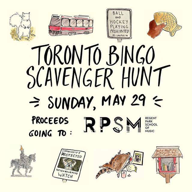 Our Scavenger Hunt is happening THIS SUNDAY! Great times, amazing prizes, and all proceeds going to @regentparkmusic. Link in bio! 😘📸 #toronto #charity #scavengerhunt #yyz #the6
