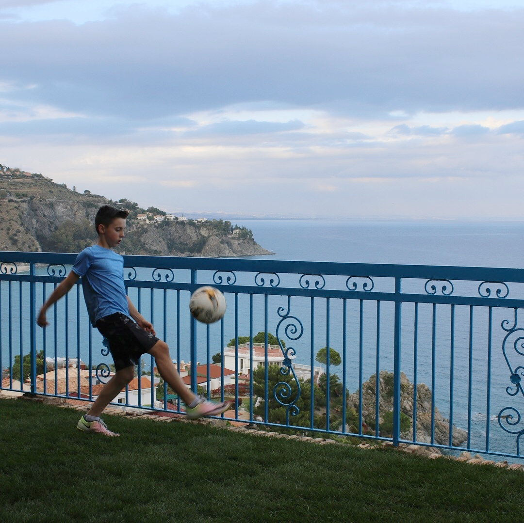 Billy playing soccer in Italy