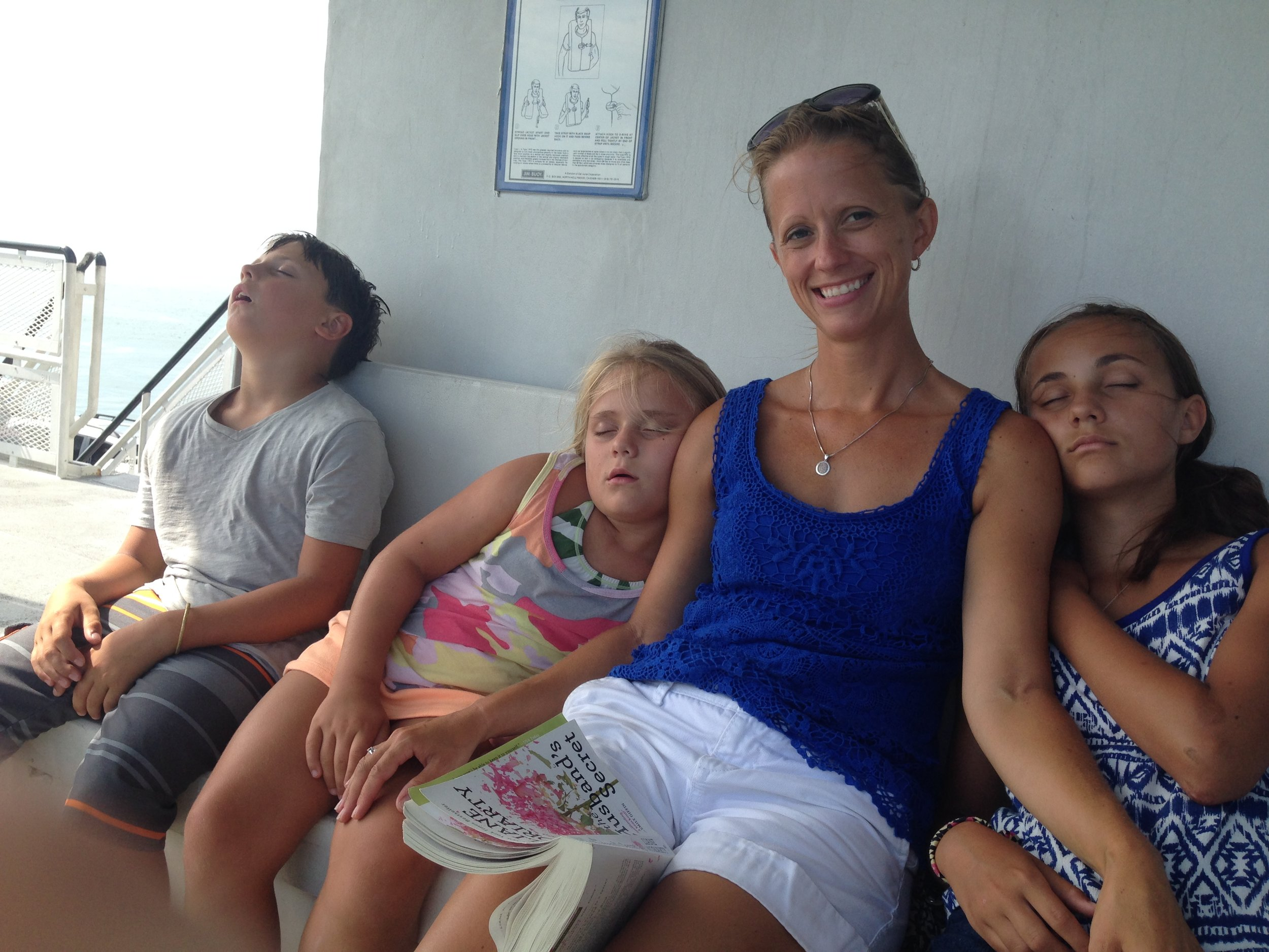 Proud Momma Moment - Bill away filming GHR but I've got them sleeping on a ferry!