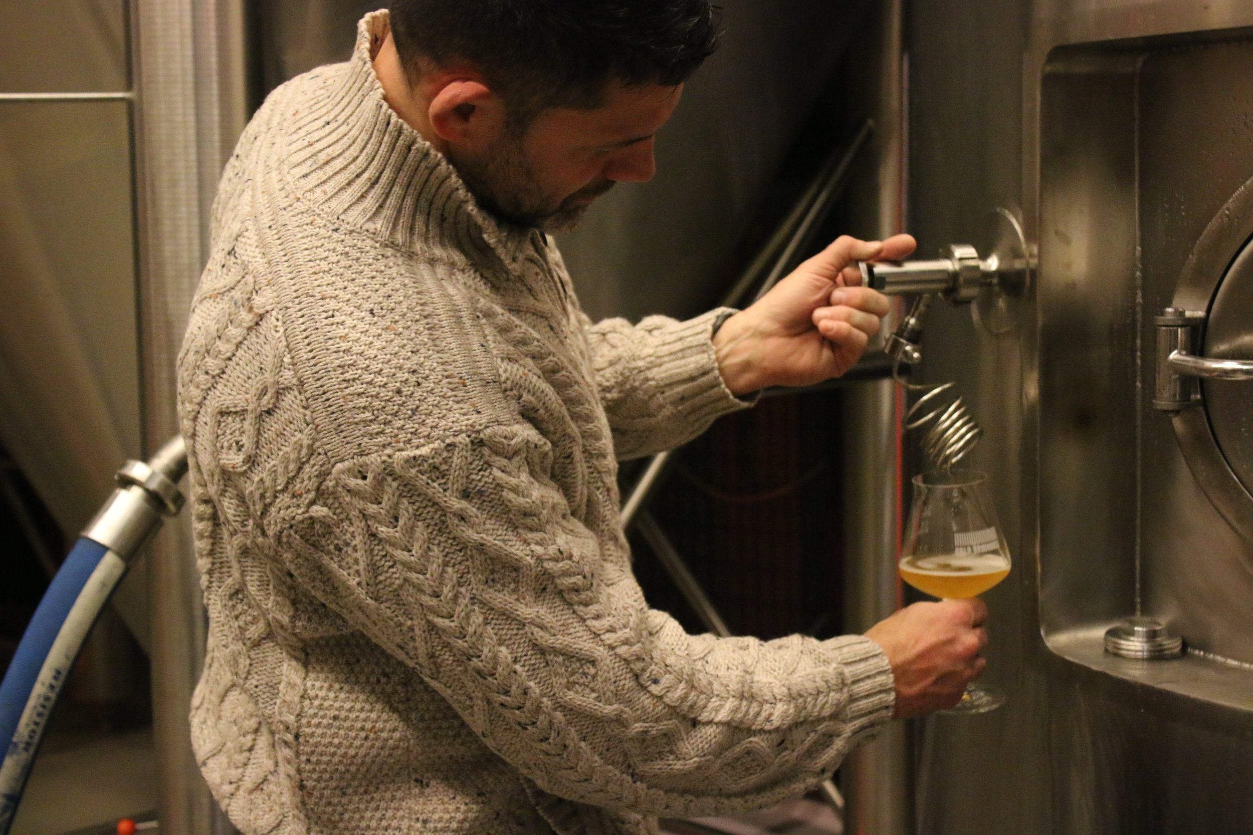 Pouring a fresh beer