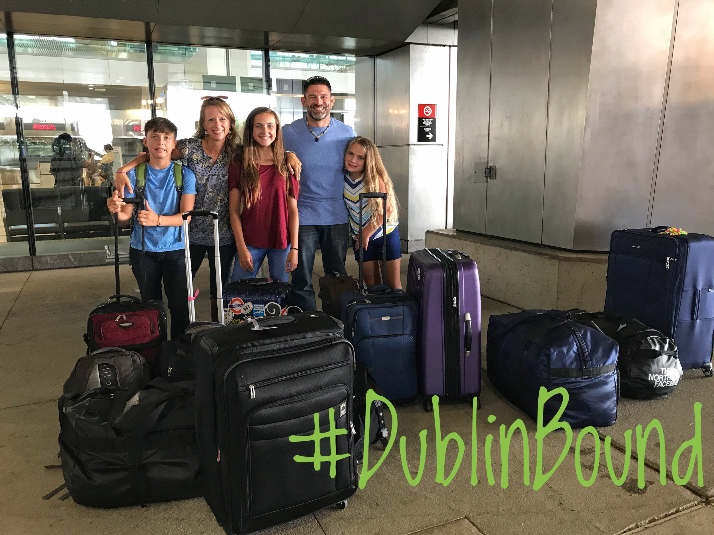 Outside the Philadelphia airport with our 15 pieces of luggage ready for the adventure of our lives!