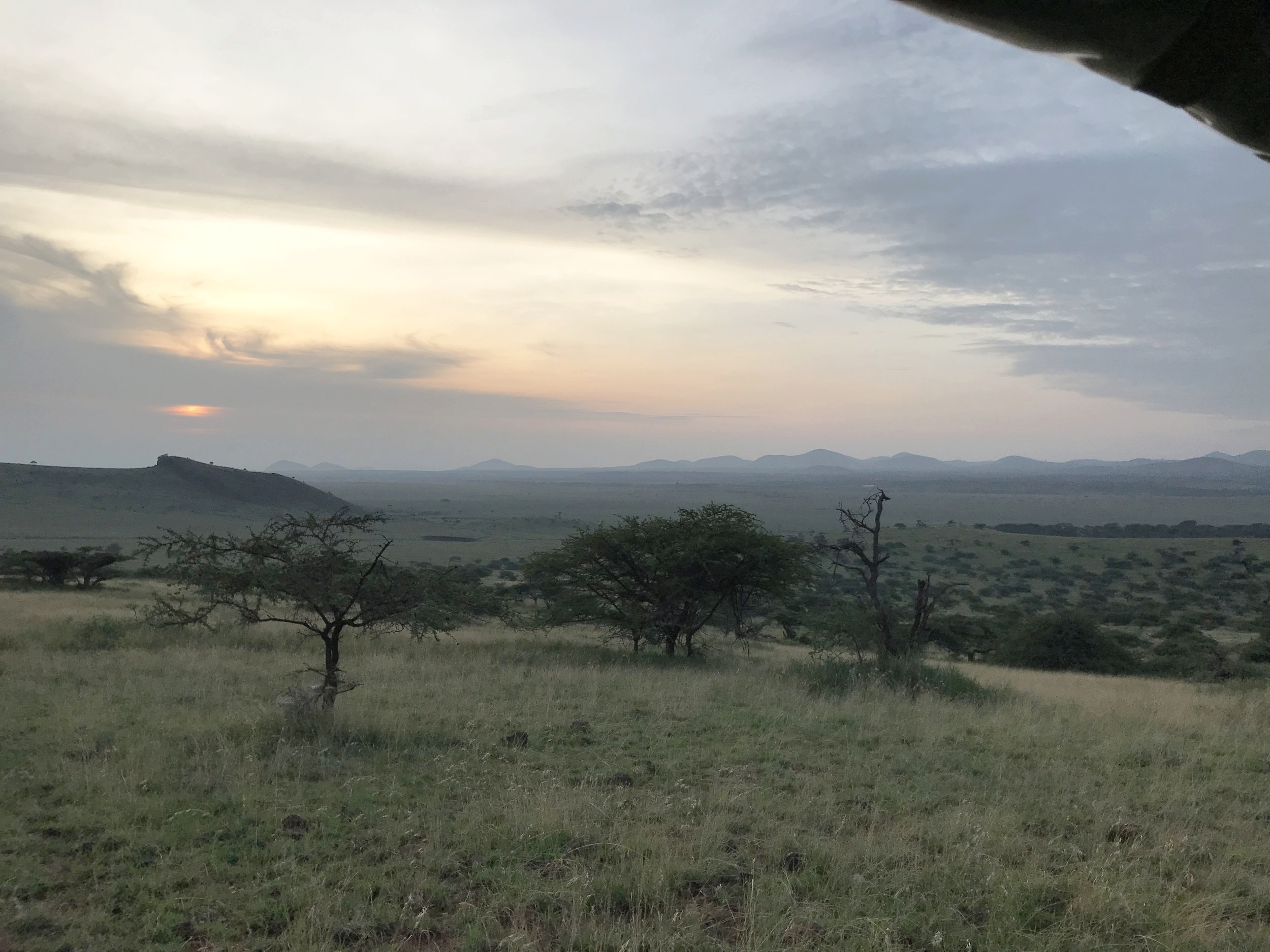 Sunrise view from the vehicle