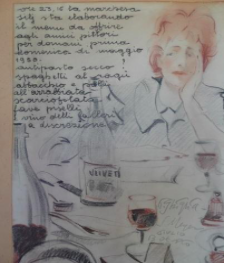 Auntie Oddina thinking lunch for her artist friends May 1950