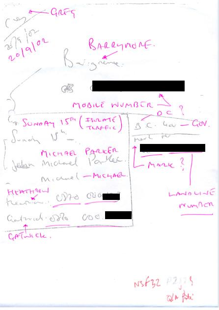 Clone hacker: One of GlennMulcaire's job notes