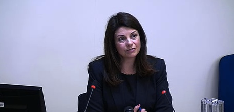 Jacqui Hames, victim of press intrusion, at the Leveson Enquiry