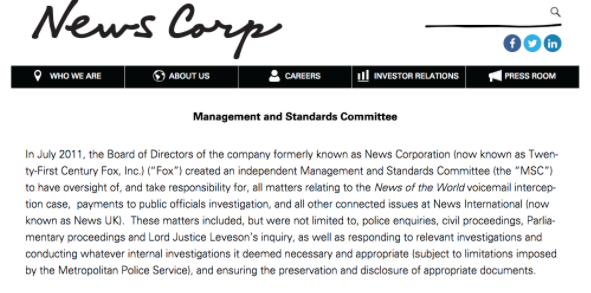 'Controlling evidence'? News Corp's 'MSC'