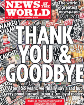 Final front page after 168 years.