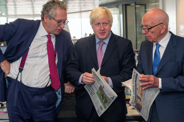With the boss: Witherow and Times and Sunday Times proprietor Rupert Murdoch, joined by Boris Johnson