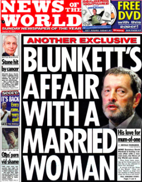 Private life: hacked front page about Mr Blunkett