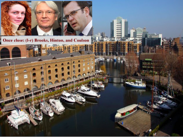 News International insiders have told how Hinton spoke warmly of Coulson at an event in St Katherine's dock, Wapping, London, in 2005