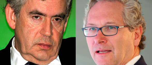 Denigrated: The Sunday Times under Witherow (r) attacked Brown (l) in its defence over illegal newsgathering