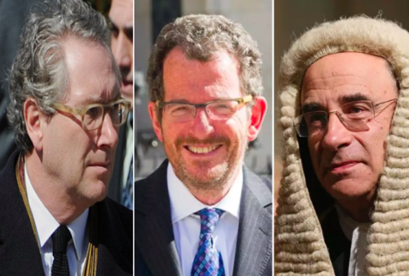 l-r: former Sunday Times Editor John Witherow, Robert Jay QC, and Lord Justice Brian Leveson