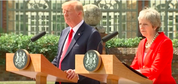 Denial: Trump at Chequers with Mrs May.