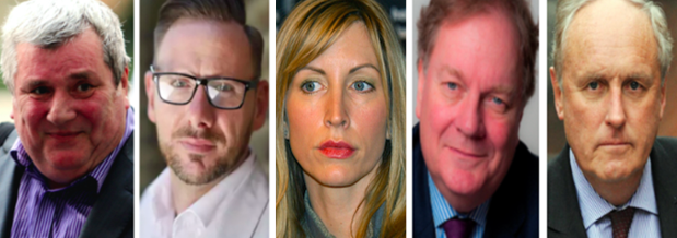 l-r, Greg Miskiw, Glenn Mulcaire, Heather Mills, Peter Wright, Paul Dacre. (c) PA/ IPSO