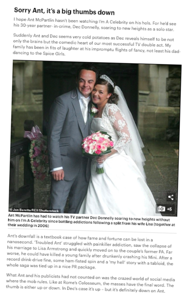 Waspish: Weaver hacked McPartlin... then wrote about his private life