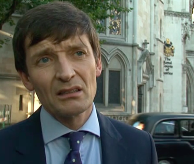 Caught by the court: MGN Legal Director Marcus Partington outside the Royal Courts of Justice in Central London where he has now been named. (C) BBC
