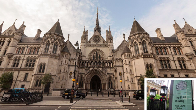 Weight of the law - the Royal Courts of Justice in London (inset the Rolls Building)
