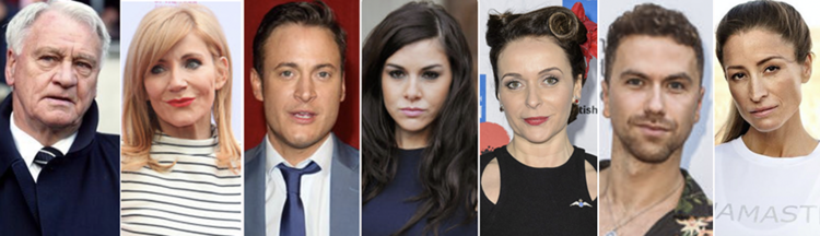 Suing Murdoch: (l-r) the estate of Sir Bobby Robson, Michelle Collins, Gary Lucy, Imogen Thomas, Julia Sawalha, Richard Fleeshman, (Rebecca Loos (c) PA/ Instagram/ rebecca.loos