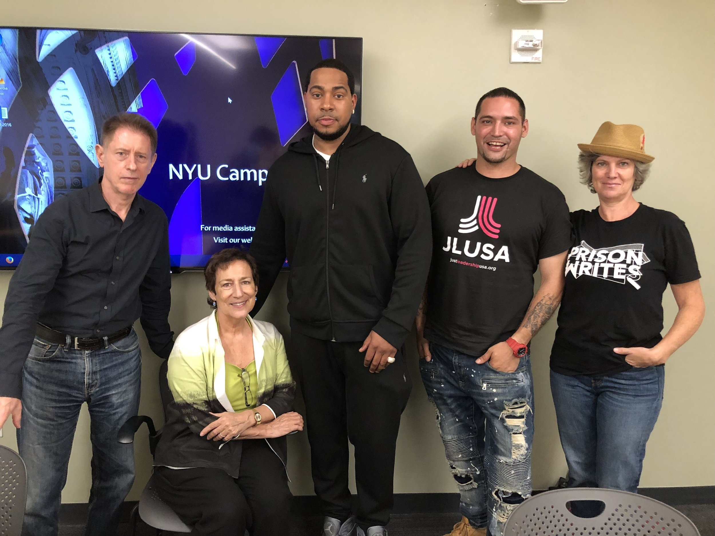 PW visits NYU's Global Liberal Studies. l-r Tim Tomlinson (President New York Writers Workshop and Professor NYU GLS), Nina d'Alessandro (Professor NYU GLS), PW writers and invited speakers Justin Corney and Rafael Carrera, and PW Executive Director Jessica Hall.