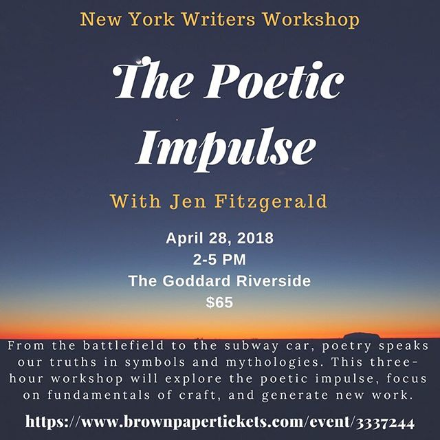 Sign up before this weekend for a one-day poetry intensive led by Jen Fitzgerald! What better way to start spring than with some new poetry...🌻