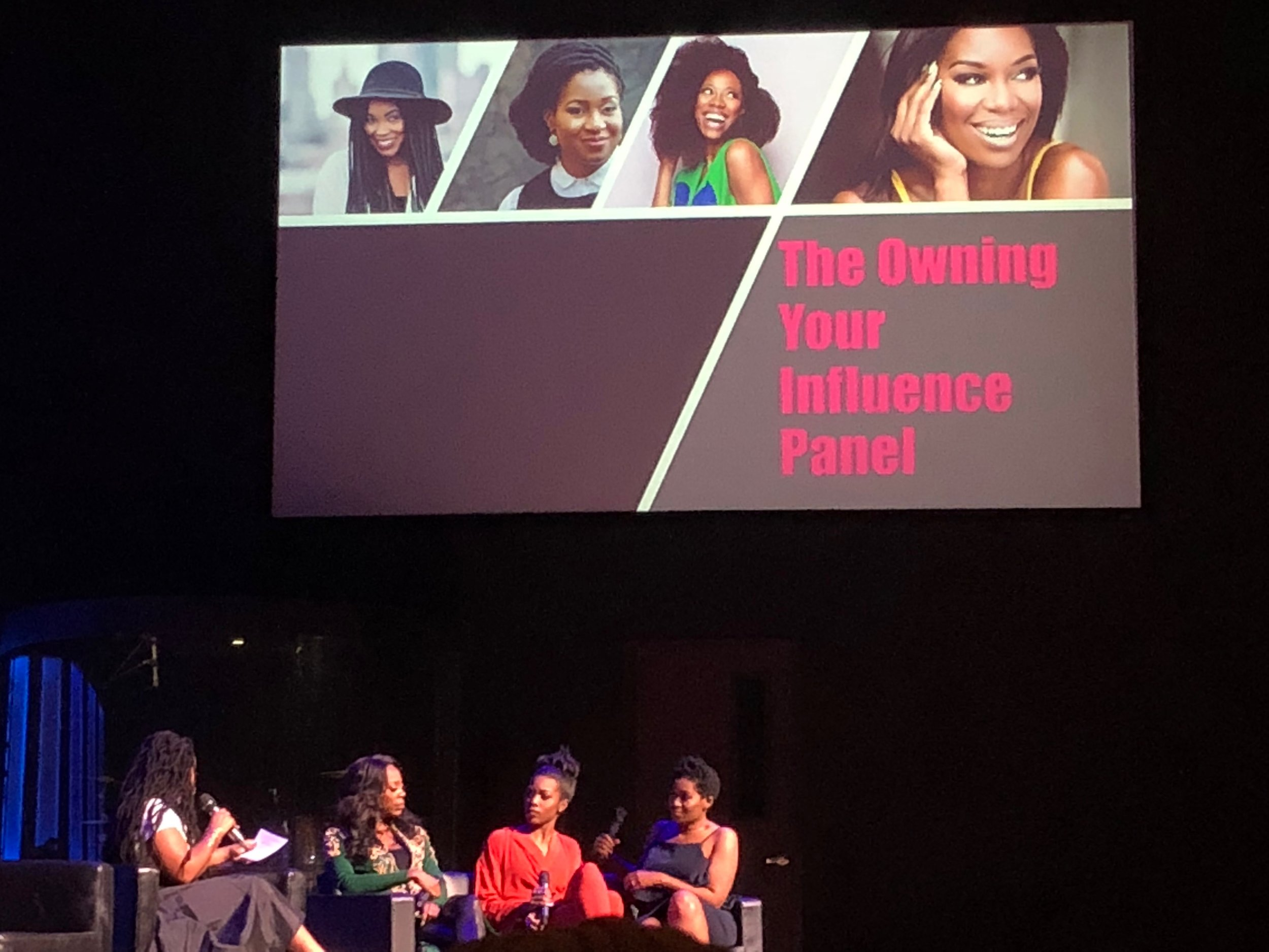 The Owning Your Influence Panel with Yvonne Orji, actress, Stacy Ike, Host of OWN Tonight,  and Jackie Nwobu, Founder and Editor-in-Chief of Munaluchi Bridal Magazine.
