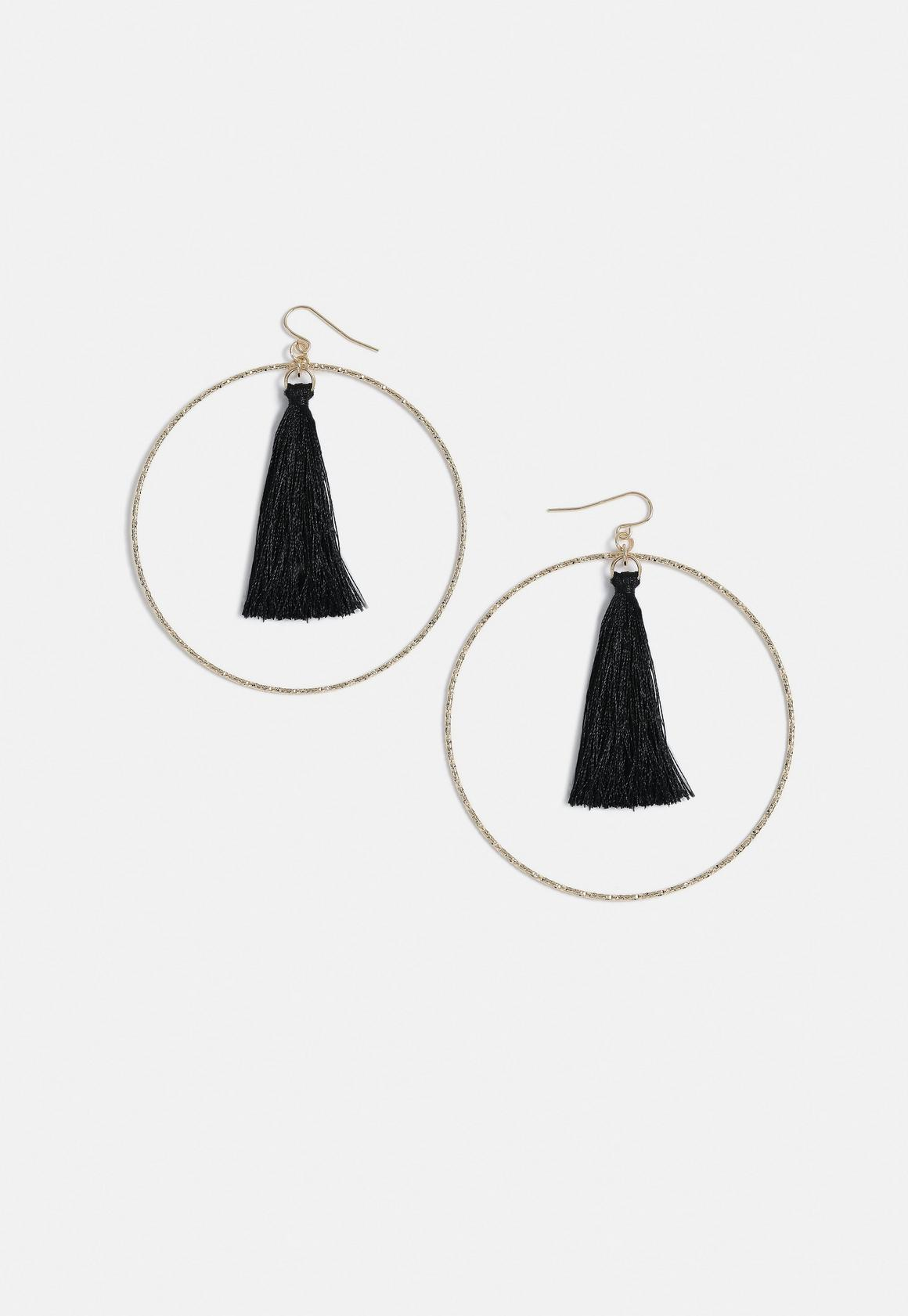 Missguided Black Tassel Gold Hoops- $12