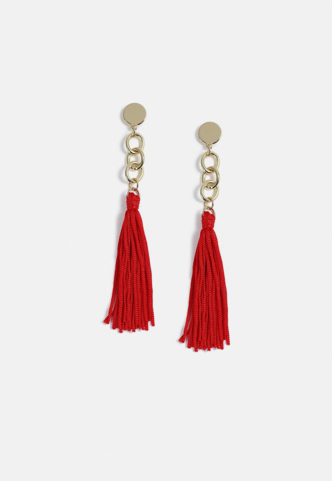 Missguided Red Tassel Earrings- $12