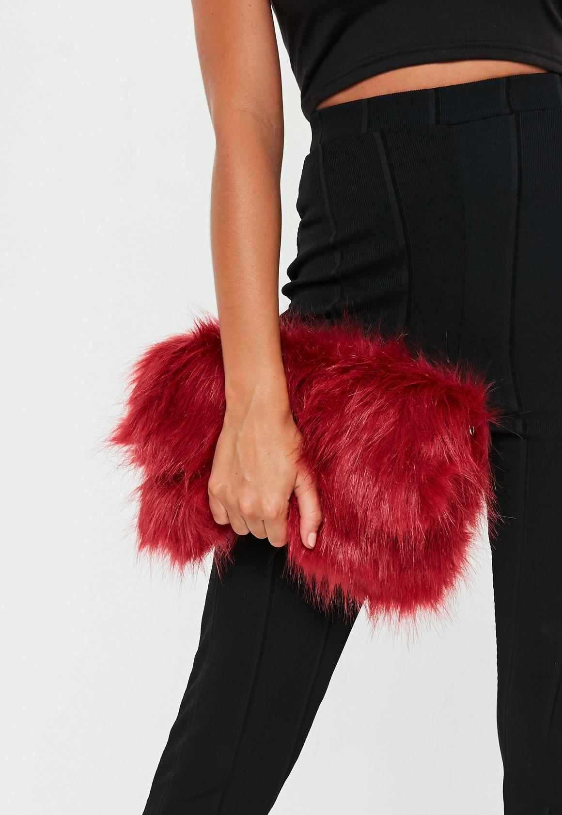 Missguided Red Fur Clutch- $13.20