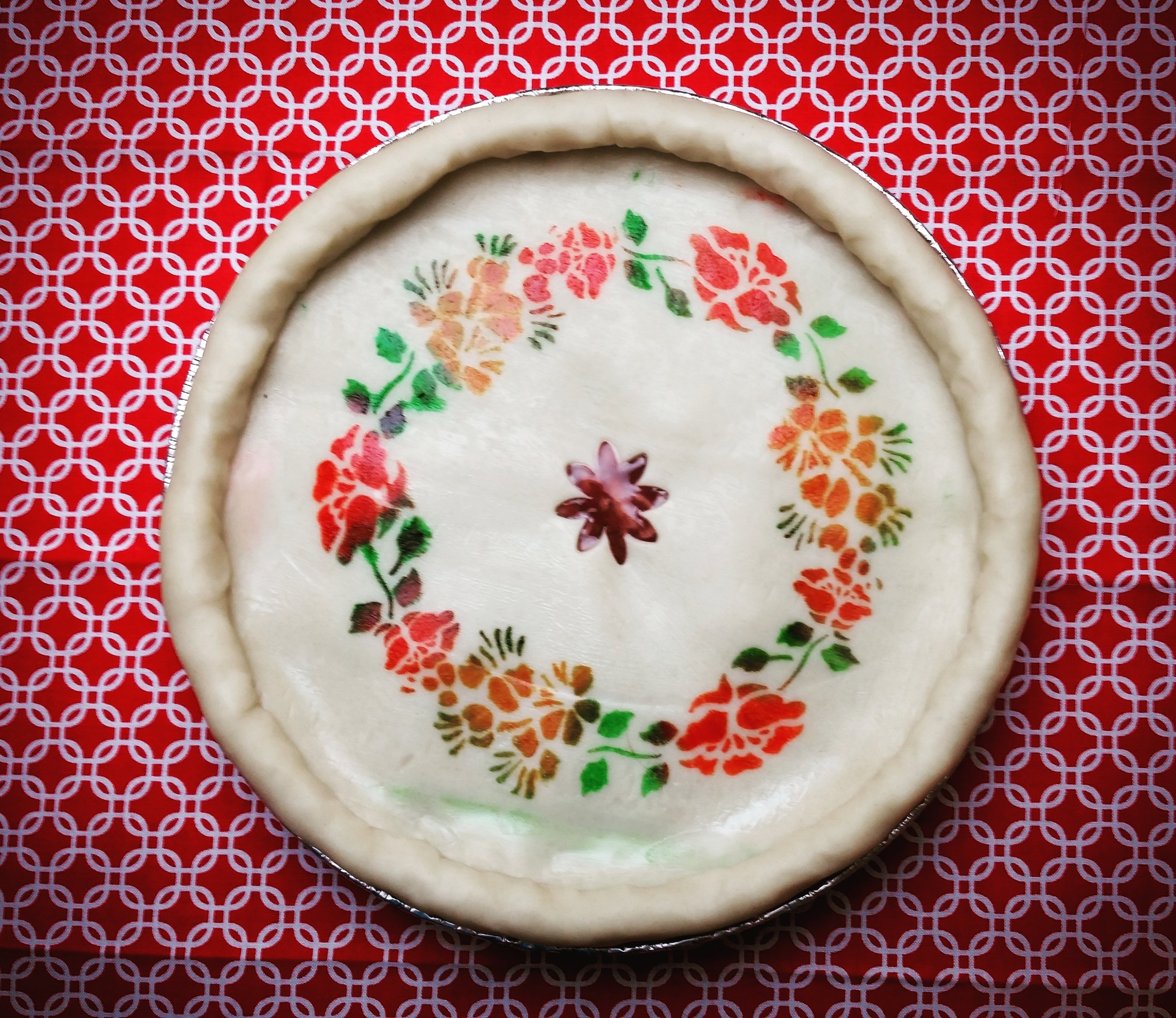 Cherry Pie with stenciling