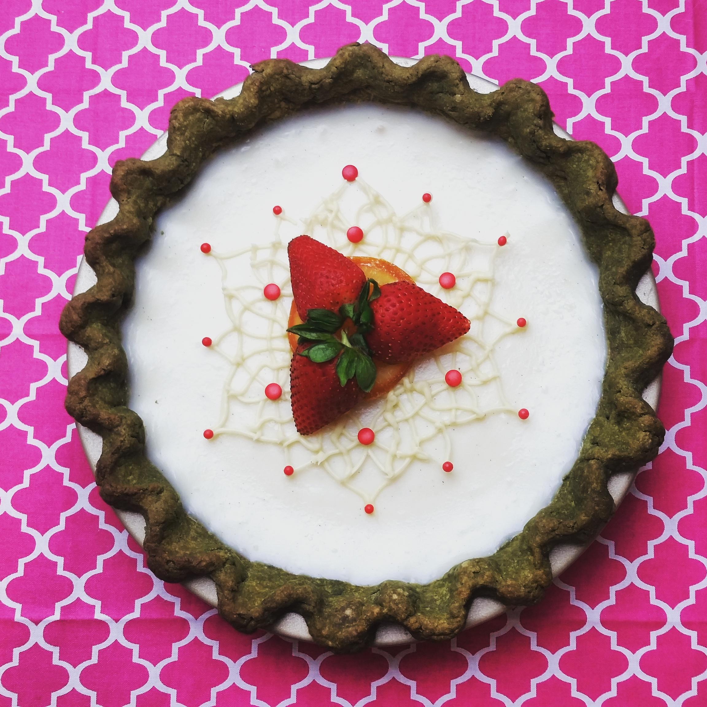 Sugar Cream Pie with matcha crust