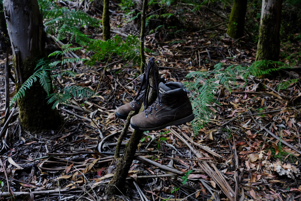 Some new looking, but abandoned hiking boots along the Camino de Santiago