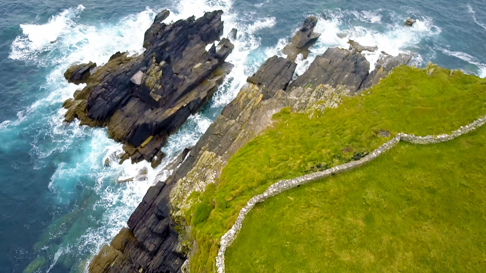 The Dingle Way   needs no introduction. While we flew along its coast we got to look down on thousand year old settlements, stone farm walls that battle with the cliffs to fence in the land, and the beautiful blue of a restless sea.