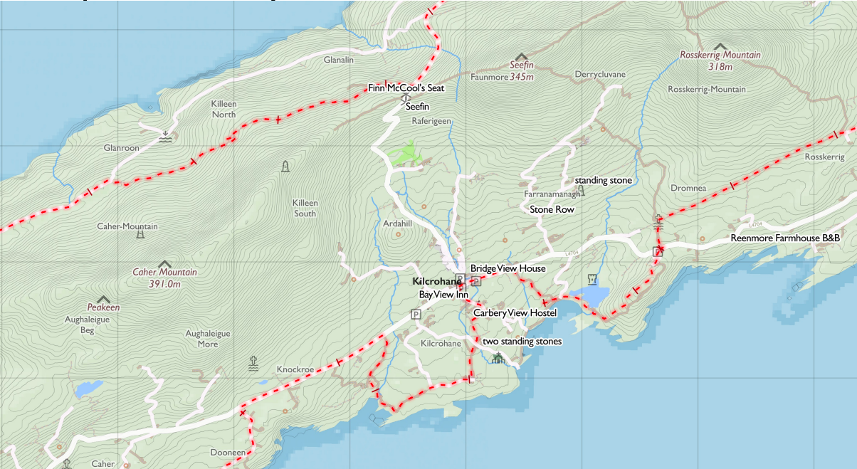 Tough Soles map detail - The Sheep's Head Way, Co. Cork