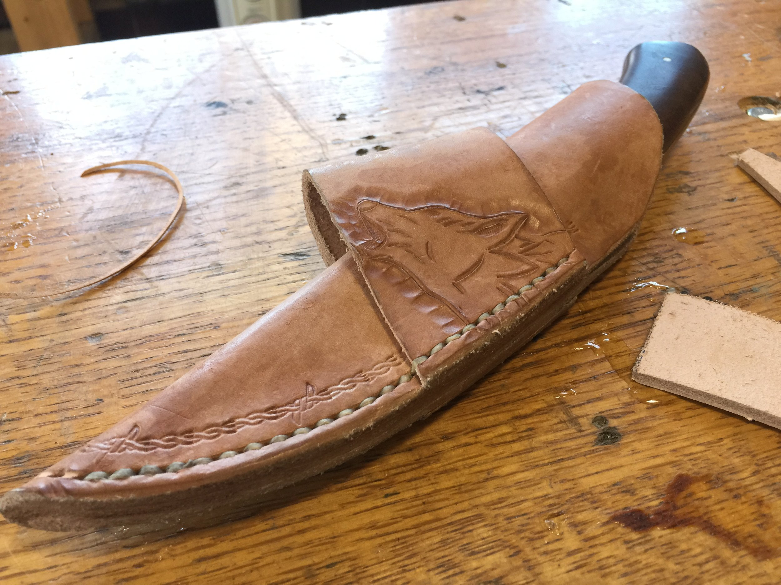 Leatherworking: Make a Knife Sheath Classes - Learn how to sew, dye and draw on leather.