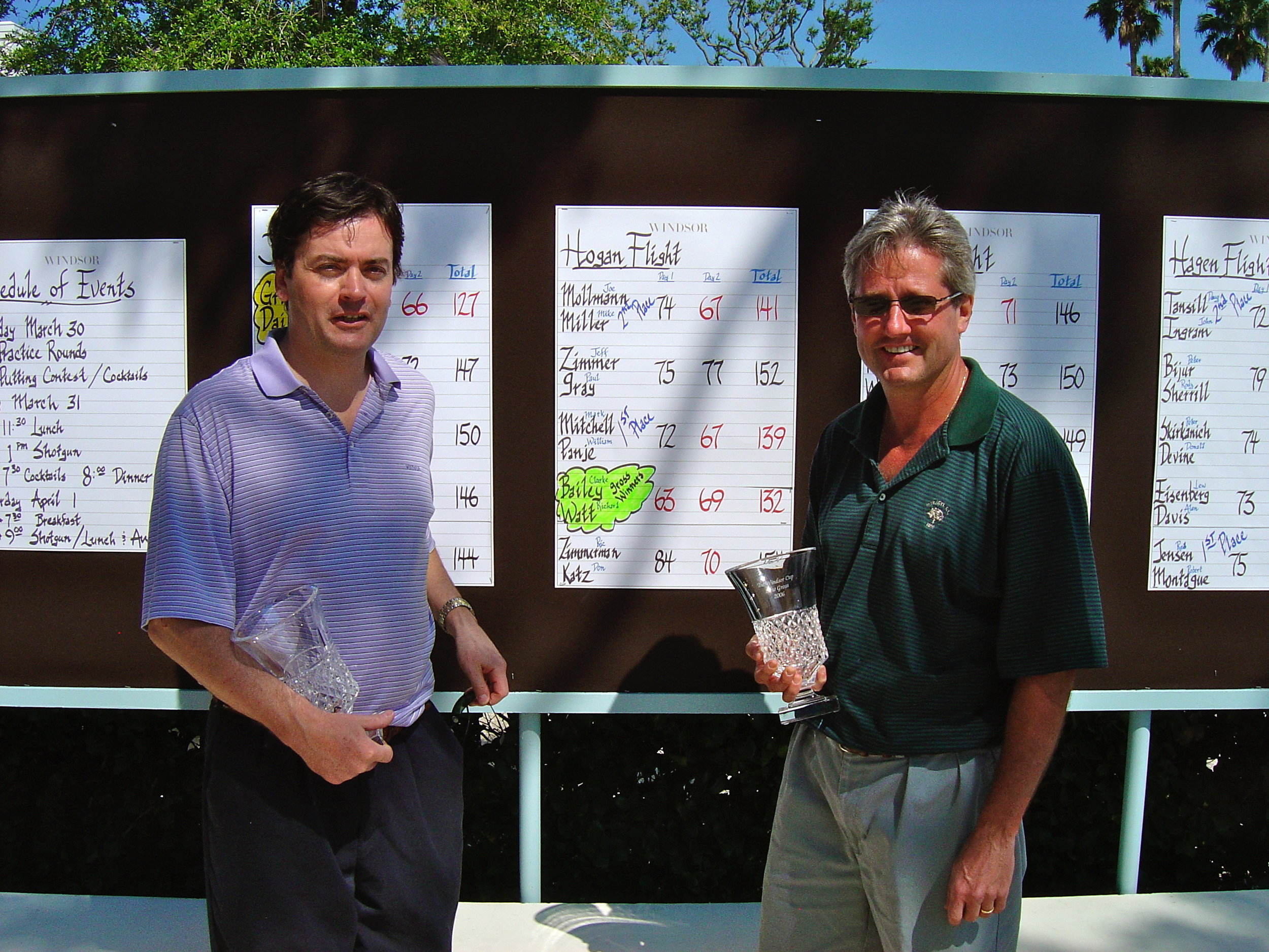 This is Clarke and me having won our flight in the member guest in xyz.