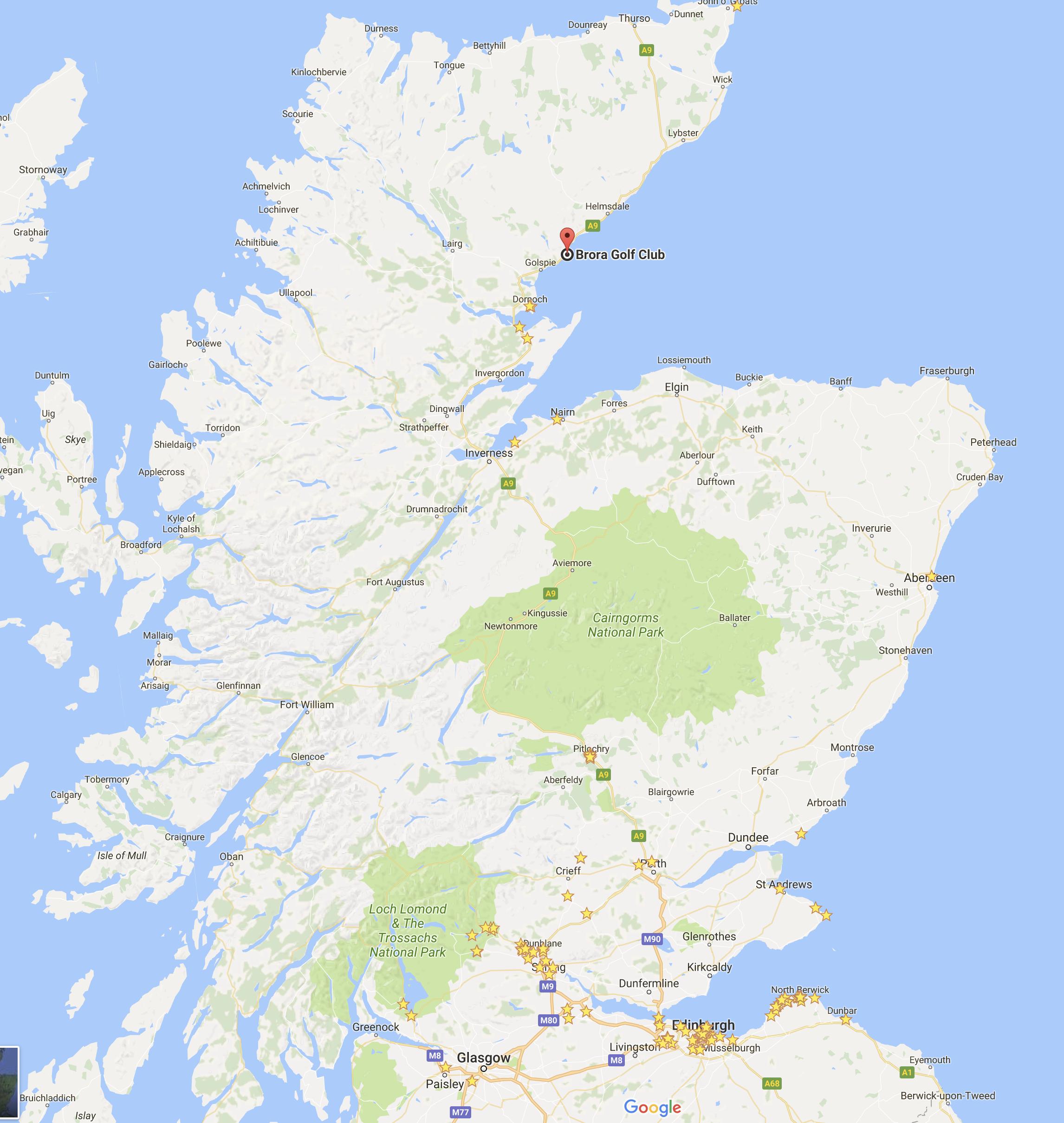 Located pretty far North. A good three hour drive from Edinburgh.