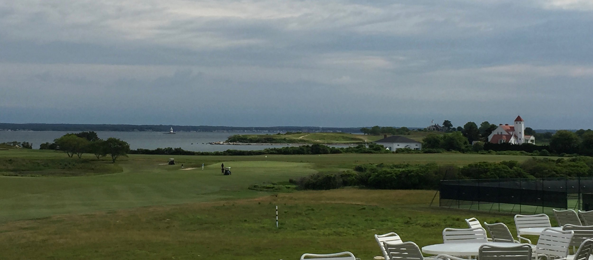 Looking from the Clubhouse over hole one and the Long Island Sound.