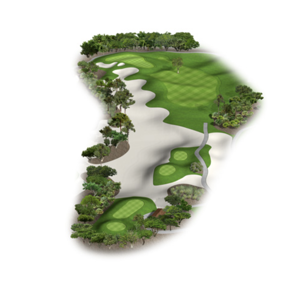 Short uphill par four. Drivable for the long hitter or the more conservative play is to hit a fairway wood or hybrid left of the big pine tree that splits the fairway. Club selection on your second shot is at a premium here going into the severely two tiered green.