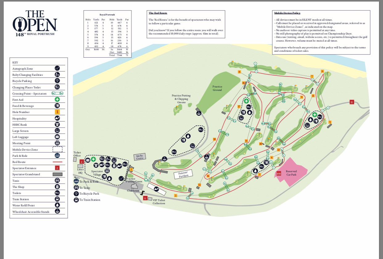 The course layout for the Open.