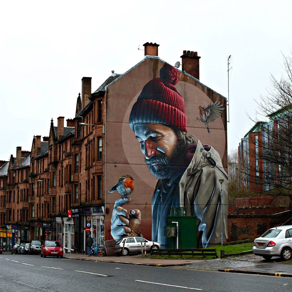 Street artist Smug from Glasgow, Scotland, is reknown for his incredible realistic street art. He brings life to the walls and streets of many different cities in and around Scotland.