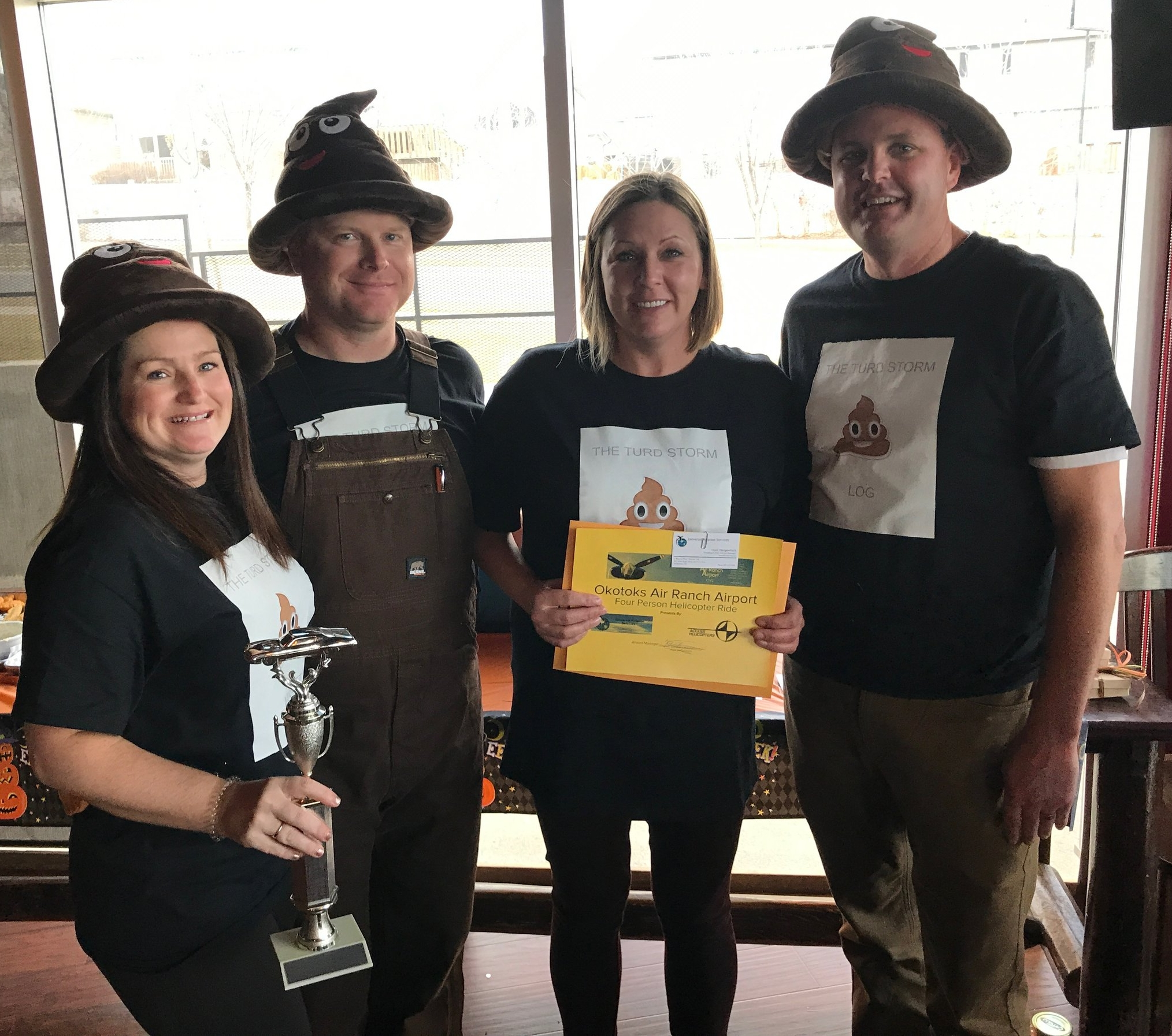 "The Great Dash Halloween Edition 2017 winning team, ""Turd Storm"" took the Dash trophy and the complimentary helicoptor ride for 4, generously donated by Trent at The Air Ranch Airport."