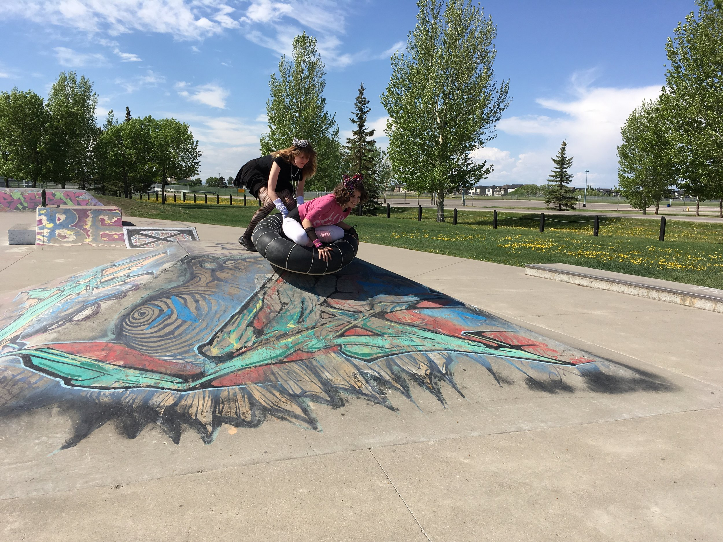 "Team ""88 MPH"" focusing on the target at High River Skateboard Park"