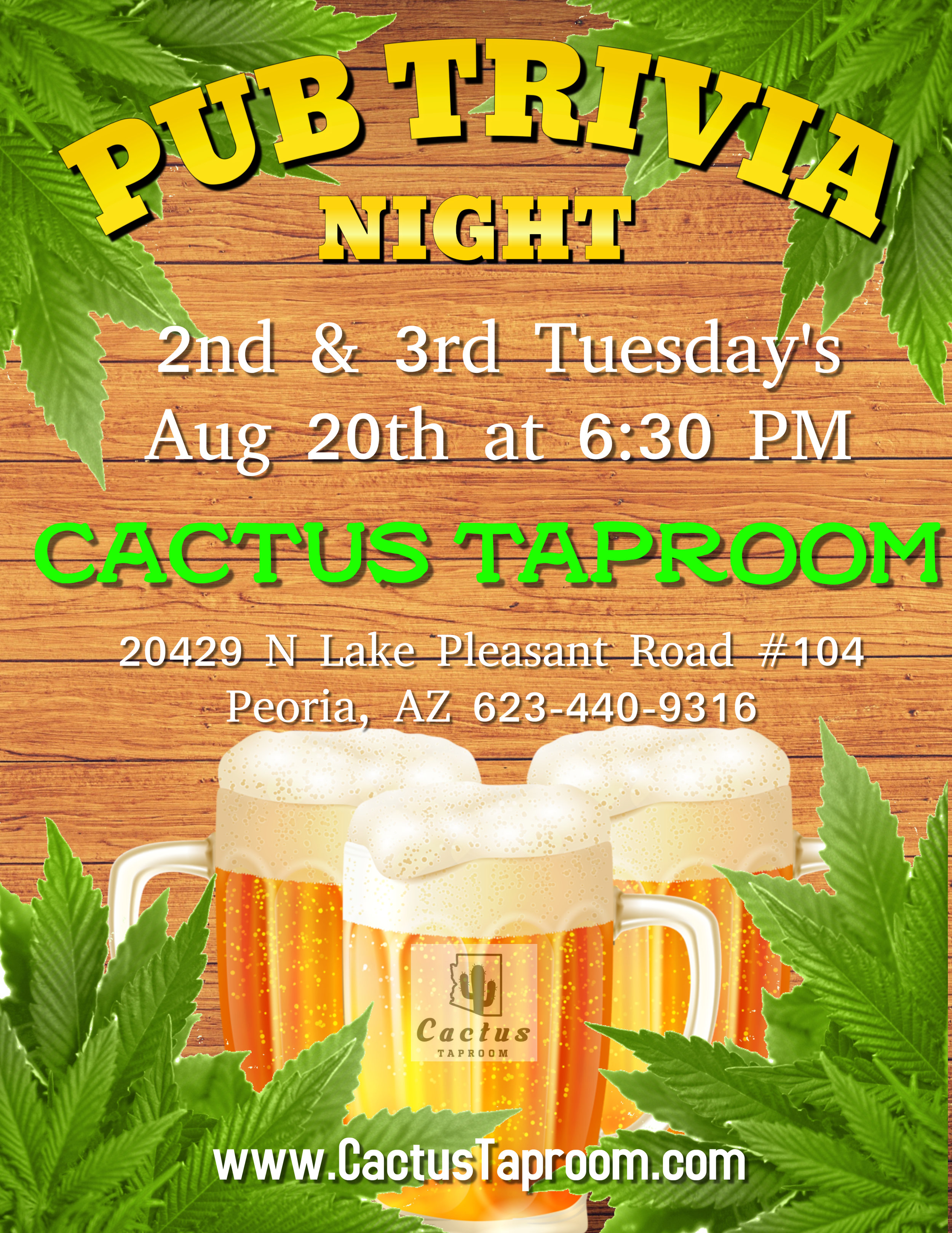 Join us the 2nd & 3rd Tuesday of the month! Great Beer - Prizes