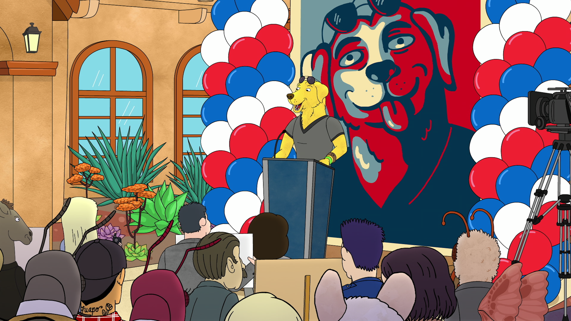 Mr. Peanutbutter on the campaign trail.