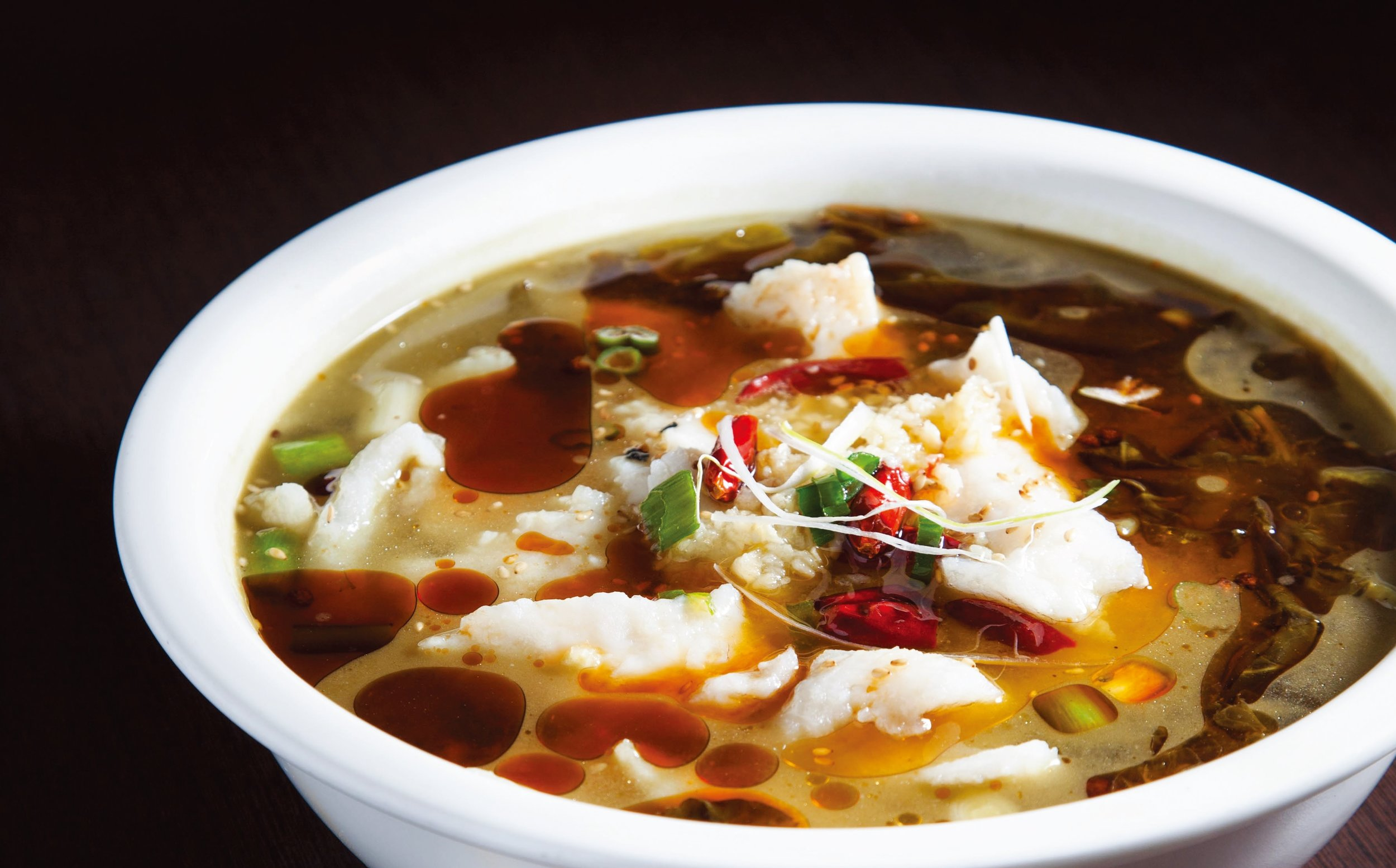 Hot & spicy basa fillet soup with pickled veggies