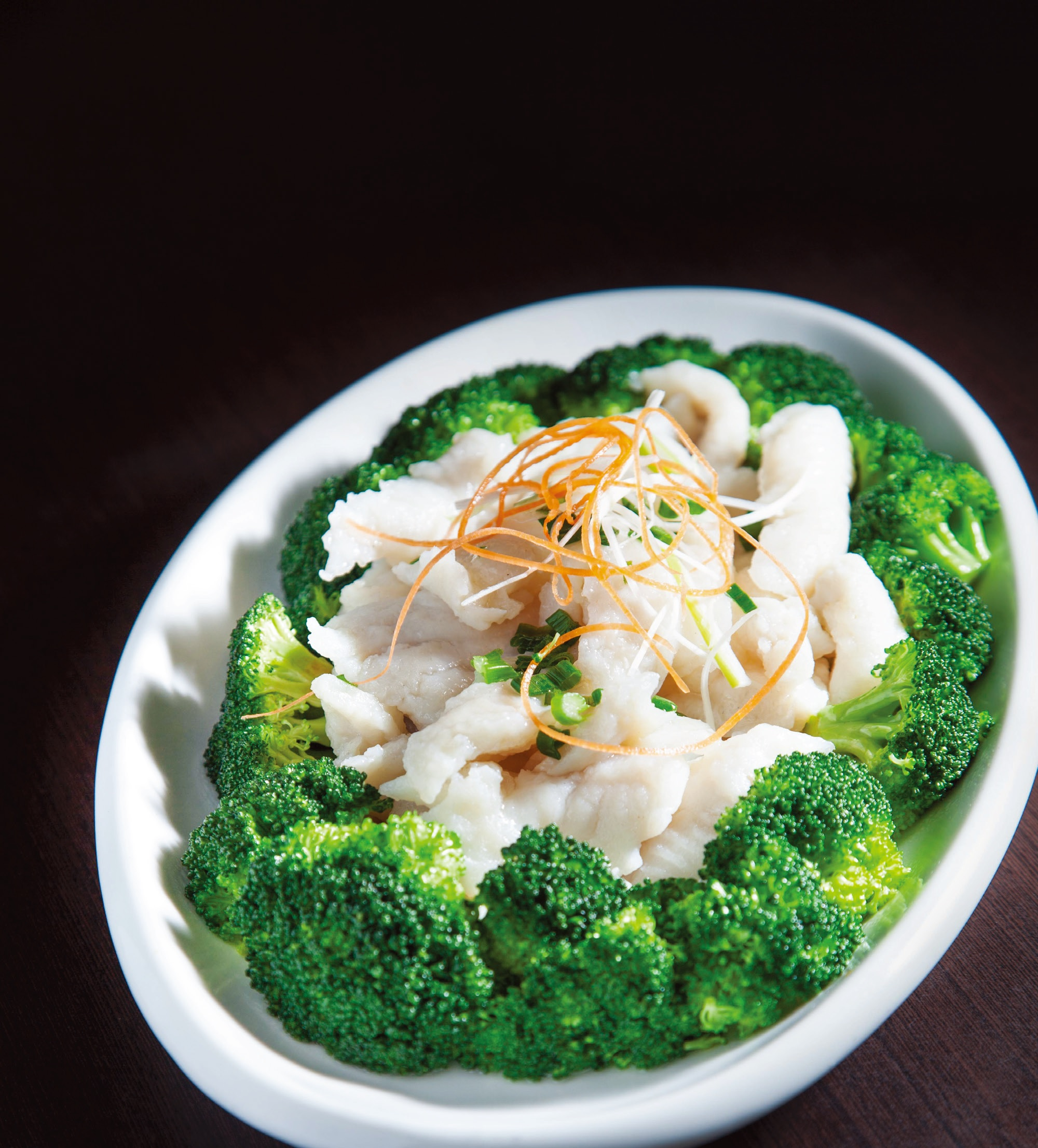 Poached basa fillet with broccoli