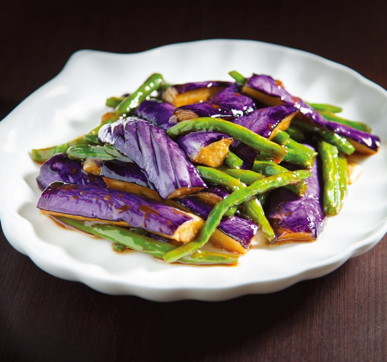 Stir fried beans and eggplant